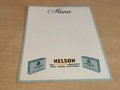 Unused Vintage Nelson The Tipped Cigarette Advertising Menu Card