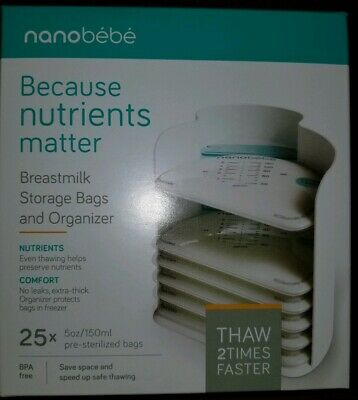 3 Boxes nanobebe Breastmilk Storage Bags and Organizer 75x Pre-Sterilized Bags