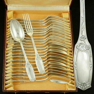24pc Art Nouveau French Sterling Silver .950 Flatware Service Forks & Spoons Set
