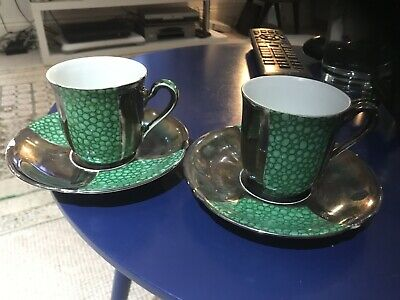 Two Art Deco Sterling Silver And Enamelled Bubble Design Coffee Cans And Saucers
