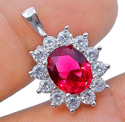Must Have 2CT Ruby & White Topaz 925 Sterling Silver Pendant Jewelry, V4