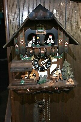 Vintage Regula Chalet German Musical Cuckoo Clock W/ Wood Chopper, Dancers,Wheel