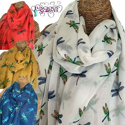 LADIES SCARF WITH GLITTER GOLD DRAGONFLIES DRAGONFLY SCARF GOOD QUALITY WRAP