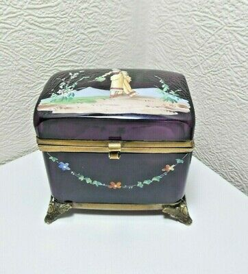 Antique French Moser Amethyst Glass Trinket Box Casket Mary Gregory Enamel