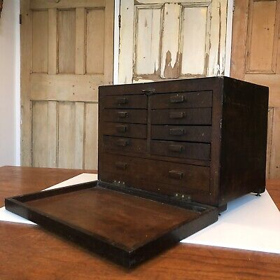 Vintage Wooden Engineers Tool Chest Drawers With Lock