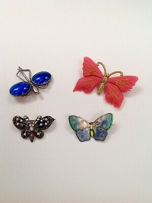 Lot Vintage Silver & Celluloid Butterfly Brooches Spare Repair Marius Hammer.