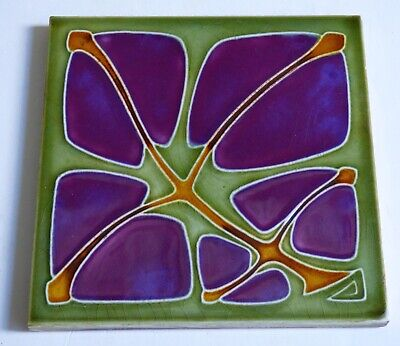 Purple Flower RAR SERVAIS Art Nouveau Tile Secessionist Carreau 1900 Jugendstil