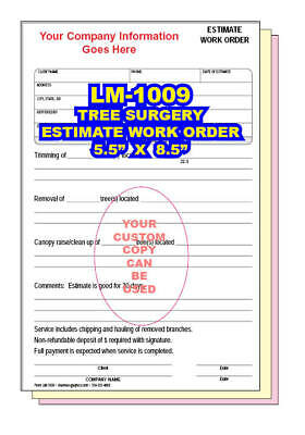 TREE SURGERY ESTIMATE WORK ORDER 2 or 3 Part Carbonless Forms