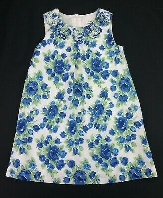 Girls Clothes MINI BODEN Fully Lined Blue Floral Summer Dress Age 5-6 Years VGC