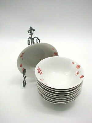Set of 10 Christmas Cereal/Soup Bowls by Gibson Everyday White w/Red Snowflakes