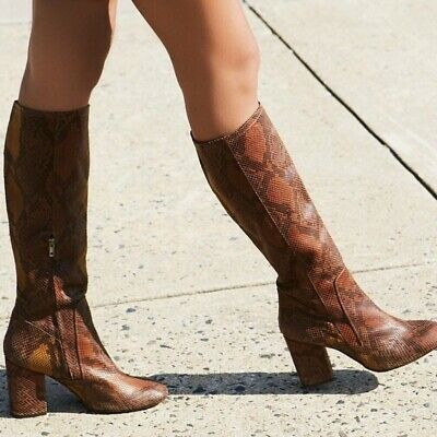 3d1f9dd17261 Free People sz 38 US 8 brown snakeskin animal print knee high ground boots