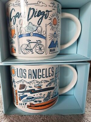 Combo Authentic Starbucks Been There Series Los Angeles & San Diego Coffee Cup