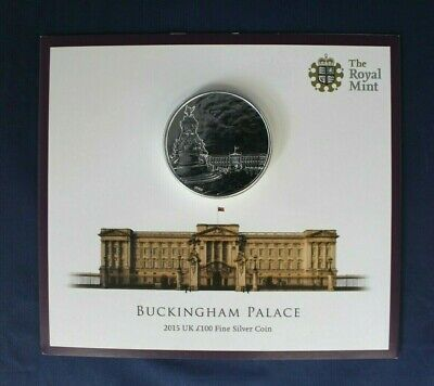 "2015 Royal Mint Silver £100 coin ""Buckingham Palace"" on Card    (AD6/23)"