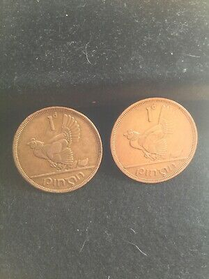Two Lucky Irish Pennys Hen and Chicks 1960's