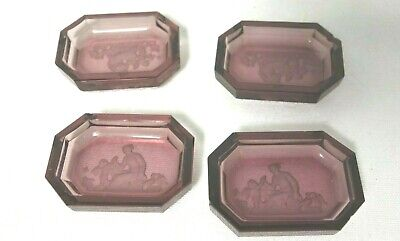 4 Antique Purple Etched W/Scene Glass Small Dishes W