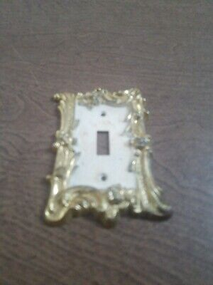 Gothic Mid Century Gold Tone Metal Light Switch Single Edmar Vintage Victorian