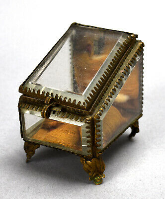 Small Antique Victorian Slant Top Jewel Box Vitrine Casket Beveled Glass Panels