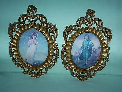 Vintage Depose PINKIE & BLUE BOY In Ornate Picture Frames W/ Convex Glass Italy