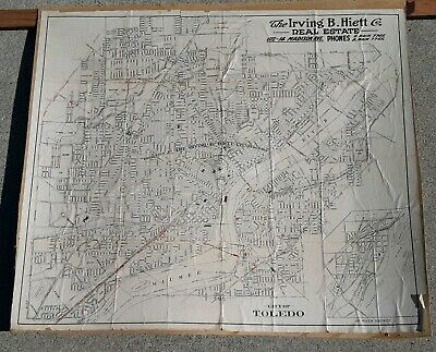 Early TOLEDO, OHIO MAP Antique Original IRVING HEITT REAL ESTATE COMPANY PROMO