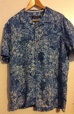 NWOT Tommy Bahama BLUE Silk Blend ISLAND ZONE Camp SHIRT L Floral HAWAIIAN Palm