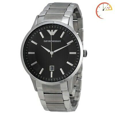 Brand New Genuine Emporio Armani Ar2457 Black Dial Stainless Steel Men's Watch
