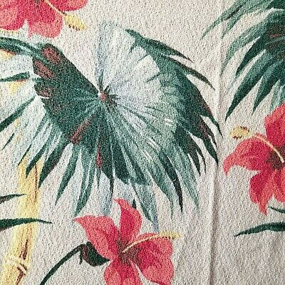 Lot VINTAGE BARKCLOTH Fabric Curtain Panels REMNANTS Bamboo Leaf Lily PINK GREEN