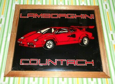 RARE Lamborghini Countach by Graphi Creations Inc w/ Wooden Frame Glass Art Sign