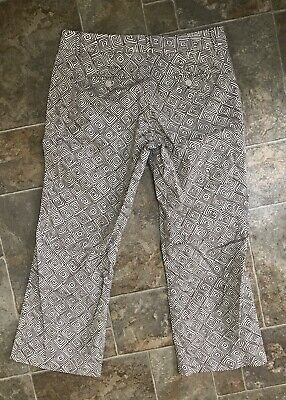 The Limited Cassidy Fit Brown Ivory Retro Geo Print Stretch Capri Pants Size 6