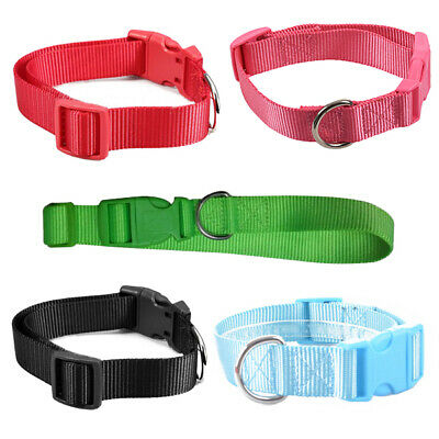 Nylon Pet Dog Cat Puppy Adjustable Spring Buckle Lead Collars, Red, L N1R3