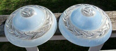 2 Vintage Antique Art Deco Crystal Glass Blue Round Lamp Chandelier Light Shade