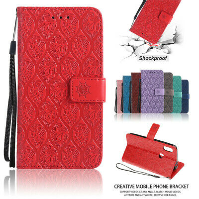 For MOTO Cplus E4 E5 G6 Plus G7 Rattan Flower Wallet Case Card Slots Stand Cover