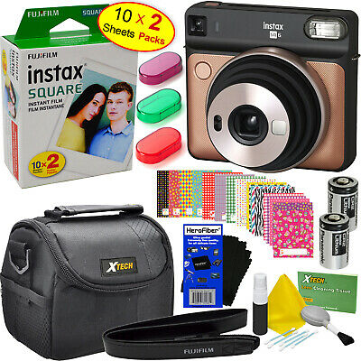 Fujifilm instax Square SQ6 Instant Film Camera,Blush Gold + Film,20sht + 9pc Kit
