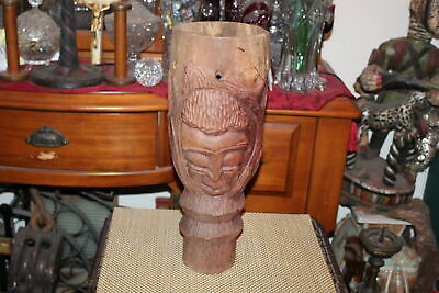 Antique African Tribal Wood Carved Drum Double Sided Faces