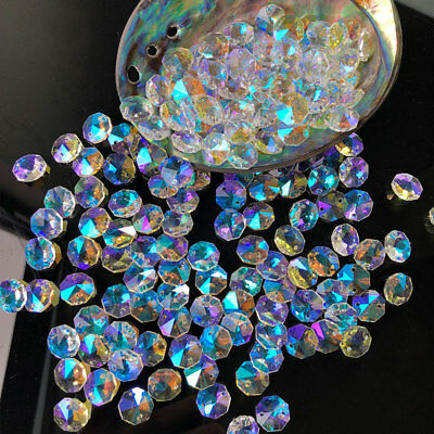 Clear 30X Ab Color Octagon Crystal 2 Hole Glass Beads Chandelier Prisms14Mm Diy