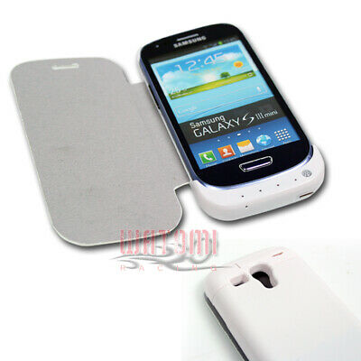 2000Mah External Backup Battery Charger Power Case Cover White Galaxy S Iii Mini