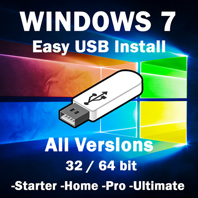 Windows 7 All In One Easy Installation 64Gb Usb Ultimate Enterprise Pro Home