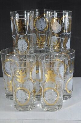 Set of 8 Vintage Mid Century GOLD GILD Leaf Tall Tumblers Barware frosted leaves