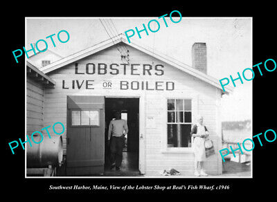 OLD LARGE HISTORIC PHOTO SOUTHWEST HARBOR MAINE, THE LOBSTER SHOP c1946