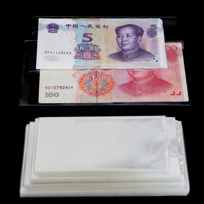 400pcs Currency Sleeves Clear Holders Money Bags For Banknotes Money Paper Stamp