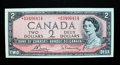 1954 Bank of Canada $2 Dollars Replacement Note *A/G 3406414  BC-38cA (( UNC ))