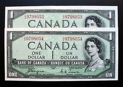 1954 BANK OF CANADA $1 Coyne & Towers Set of Consecutive *Devil's Face* BC-29a