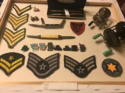 Junk Drawer Vintage Military Patches Knives Reels Kentucky Derby Pins Centennial