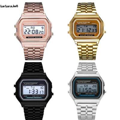 Men Stainless Steel Band LCD Digital Wrist Watch Sport Square Quartz BAE8 01