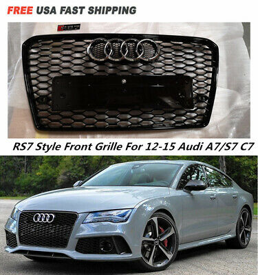 For Audi A6 C6 2005 2011 Black Front Mesh Grille Grill To Rs6 Style