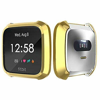 TPU Full Cover Protective Bumper Shell Case For Fitbit Versa Lite Watch Gold