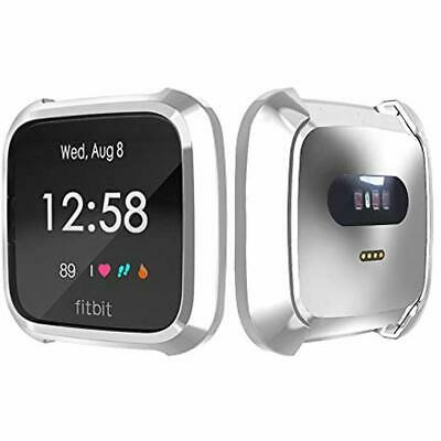 TPU Full Cover Protective Bumper Shell Case For Fitbit Versa Lite Watch Silver