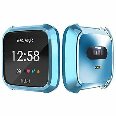 TPU Full Cover Protective Bumper Shell Case For Fitbit Versa Lite Watch Blue