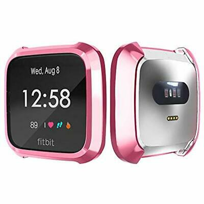 TPU Full Cover Protective Bumper Shell Case For Fitbit Versa Lite Watch Pink