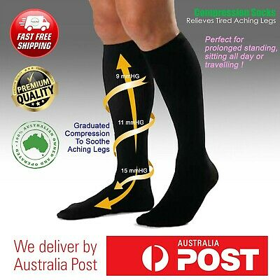 Compression Socks Unisex Travel Comfort Graduated Knee High Travelling Heel Pain
