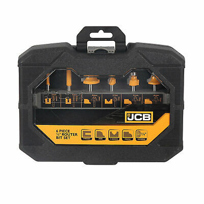 """Jcb 1/4 """" Shank Carpentry Router Bit Set Quality Pack Of 6 In Tough Case Kitchen"""